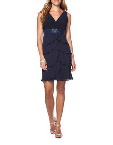 Chaps Tiered Georgette Dress-NAVY-6