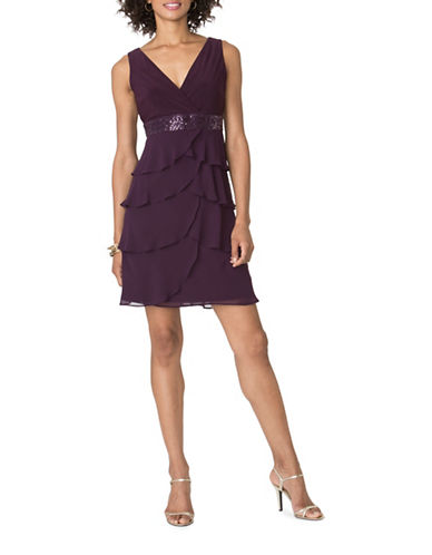 Chaps Tiered Georgette Dress-EGGPLANT-2