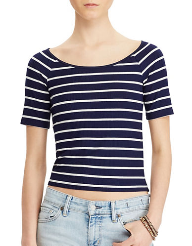 Denim & Supply Ralph Lauren Striped Stretch Jersey Top-BLUE-Large