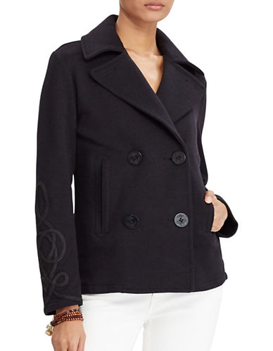 Denim & Supply Ralph Lauren Soutache French Terry Pea Coat-BLUE-Medium 89018161_BLUE_Medium