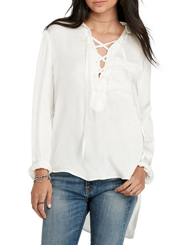 Denim & Supply Ralph Lauren Satin Lace-Up Top-SATIN-Medium