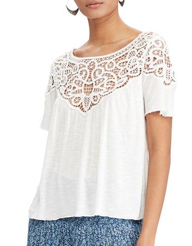 Denim & Supply Ralph Lauren Lace-Trim Jersey Top-WHITE-Small 89103787_WHITE_Small