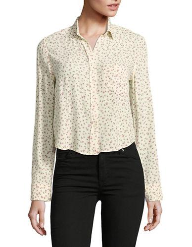 Denim & Supply Ralph Lauren Cropped Crepe Shirt-NATURAL MULTI-Small