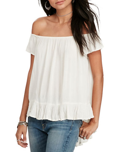 Denim & Supply Ralph Lauren Crepe Off-the-Shoulder Blouse-WHITE-X-Large