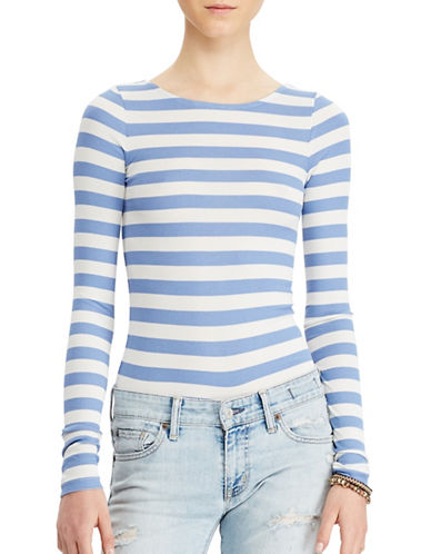 Denim & Supply Ralph Lauren Striped Rib-Knit Bodysuit-BLUE-Large