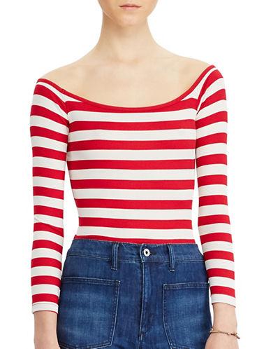 Denim & Supply Ralph Lauren Striped Rib-Knit Bodysuit-RED-Large