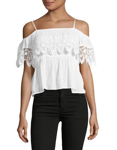 Denim & Supply Ralph Lauren Crochet-Trimmed Gauze Top-WHITE-Medium 89103836_WHITE_Medium