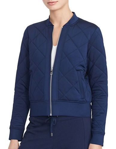 Lauren Ralph Lauren Quilted Jersey Bomber Jacket-BLUE-Large 88874507_BLUE_Large