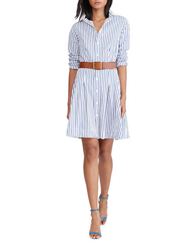 Polo Ralph Lauren Pleated Poplin Shirtdress-WHITE MULTI-10 89046935_WHITE MULTI_10