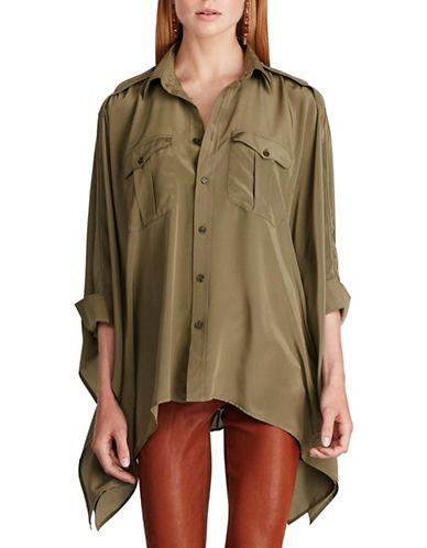 Polo Ralph Lauren Silk Poncho Shirt-GREEN-X-Small/Small