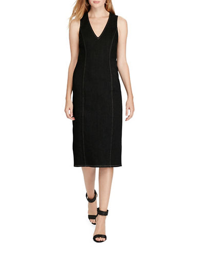 Polo Ralph Lauren Denim Sheath Dress-BLACK-4