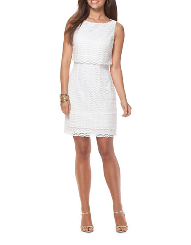Chaps Lace Popover Dress-IVORY-16