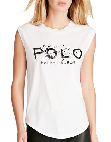 Polo Ralph Lauren Graphic Printed Cotton Tee-WHITE-Medium 89101664_WHITE_Medium
