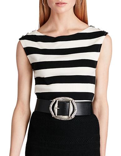 Polo Ralph Lauren Striped Cap-Sleeve Top-BLACK-Medium 89101669_BLACK_Medium