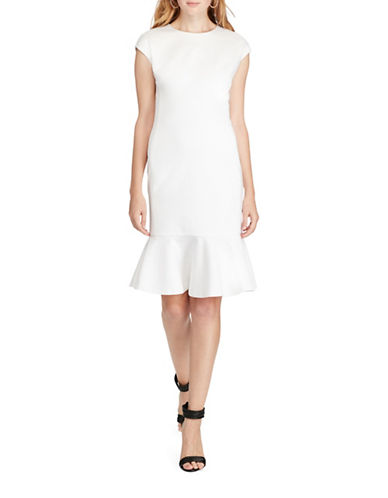 Polo Ralph Lauren Ruffled Ponte Dress-WHITE-12