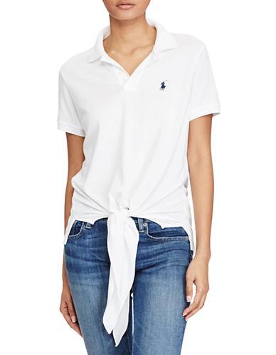 Polo Ralph Lauren Tie-Front Mesh Polo-WHITE-X-Large