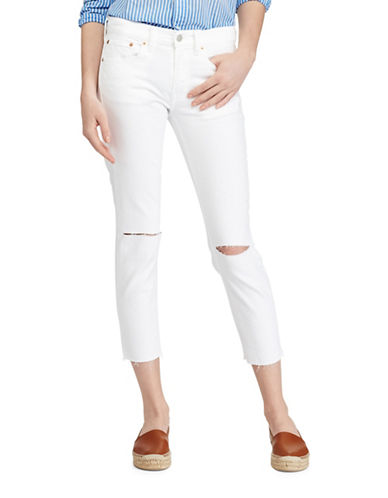 Polo Ralph Lauren Slim-Fit Cropped Jeans-WHITE-30