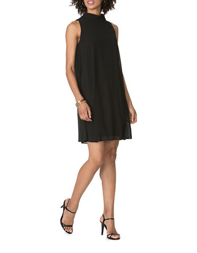 Chaps Georgette Overlay Dress-BLACK-4