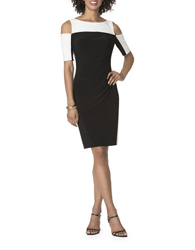 Chaps Colourblock Sheath Dress-BLACK/CREAM-X-Small
