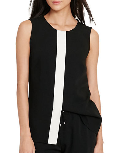 Lauren Ralph Lauren Two-Toned Crepe Top-BLACK-X-Small 88933341_BLACK_X-Small