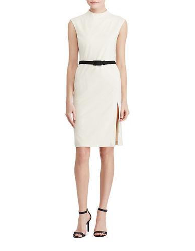 Lauren Ralph Lauren Mock Neck Sheath Dress-WHITE-16 89063424_WHITE_16