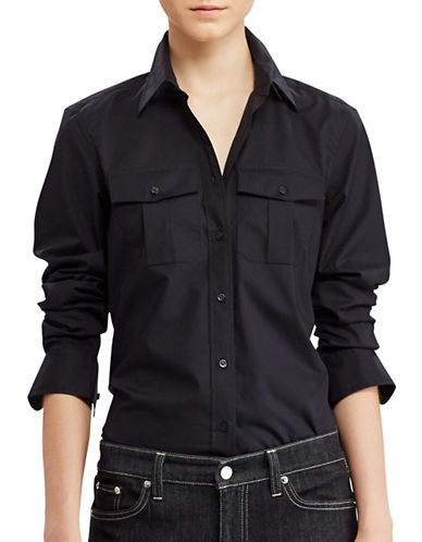 Lauren Ralph Lauren Cotton Broadcloth Shirt-BLACK-Medium 88933504_BLACK_Medium