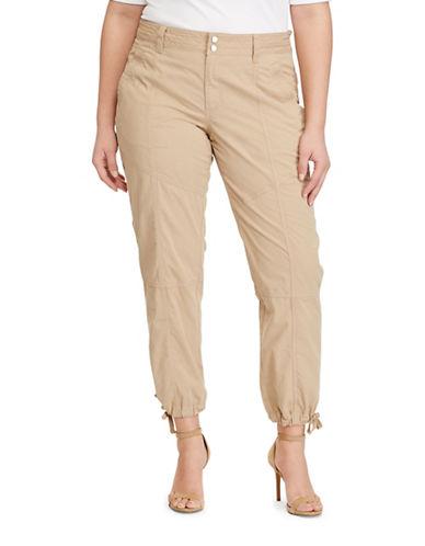 Lauren Ralph Lauren Plus Cotton Cargo Pants-BEIGE-14W