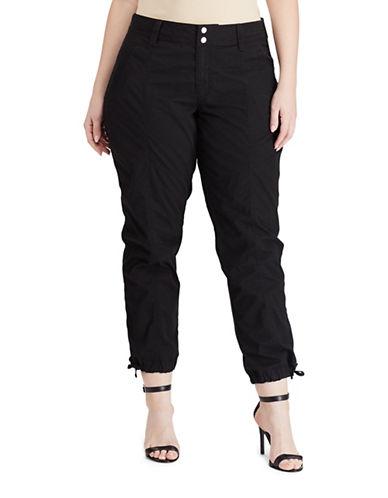 Lauren Ralph Lauren Plus Cotton Cargo Pants-BLACK-22W 89103180_BLACK_22W