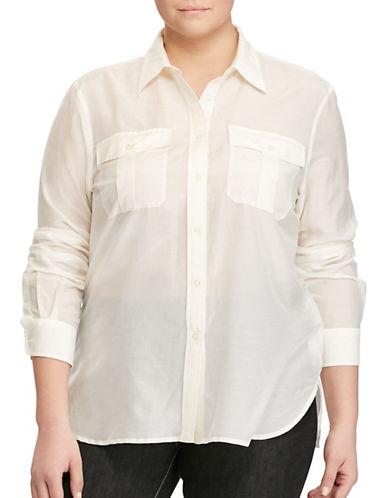 Lauren Ralph Lauren Plus Cotton-Silk-Voile Shirt-WHITE-1X