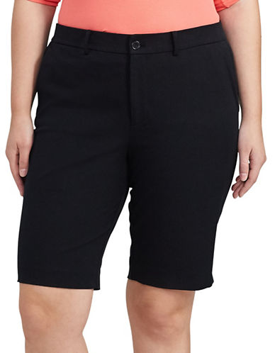 Lauren Ralph Lauren Plus Stretch Cotton Shorts-BLACK-14W 89103254_BLACK_14W