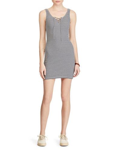 Denim & Supply Ralph Lauren Striped Lace-Up Tank Dress-MULTI-X-Large