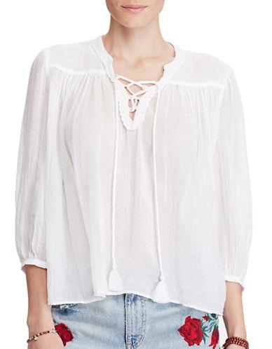Denim & Supply Ralph Lauren Lace-Up Cotton Peasant Top-WHITE-Medium 89120671_WHITE_Medium