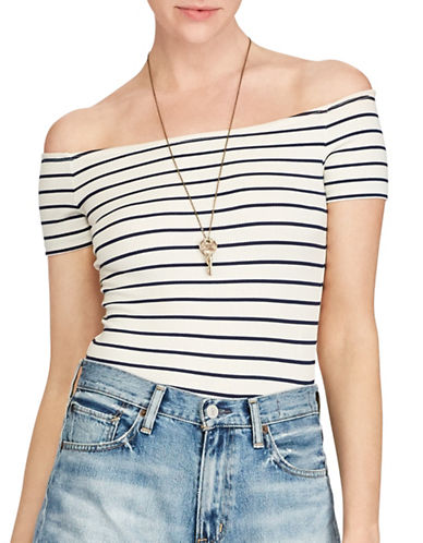 Denim & Supply Ralph Lauren Striped Off-the-Shoulder Top-GREY-X-Large 89120745_GREY_X-Large