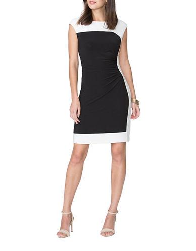 Chaps Two-Tone Twill Dress-BLACK/CREAM-X-Large