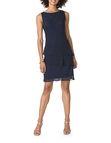 Chaps Tiered Georgette Dress-BLUE-6