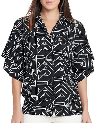 Lauren Ralph Lauren Geo-Print Crepe Top-BLACK-X-Small 88933625_BLACK_X-Small