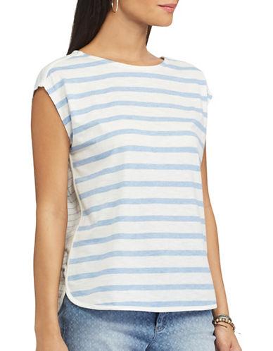 Chaps Striped-Front Dolman Tee-WHITE-X-Small 89178403_WHITE_X-Small