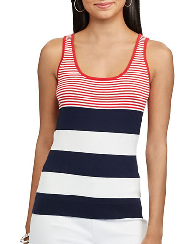 Chaps Striped Sleeveless Sweater-PINK-Large
