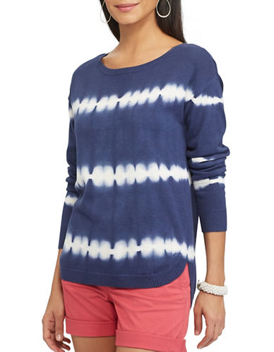 Chaps Thad Long Sleeve Tie-Dye Striped Sweater-BLUE-Large