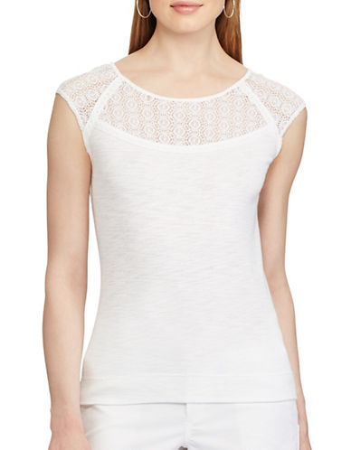 Chaps Lace Trim Top-WHITE-X-Large 89178707_WHITE_X-Large