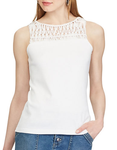 Chaps Macramé-Trim Cotton Top-WHITE-Large