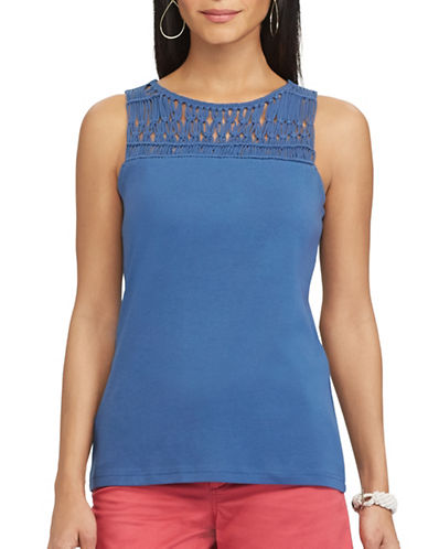 Chaps Macramé-Trim Cotton Top-BLUE-X-Small