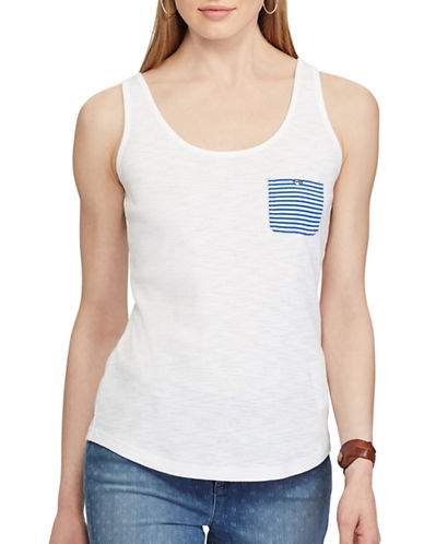 Chaps Striped-Pocket Cotton Tank-WHITE-Large 89221189_WHITE_Large