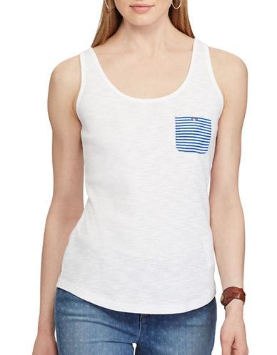 Chaps Striped-Pocket Cotton Tank-WHITE-Medium