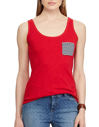 Chaps Striped-Pocket Cotton Tank-RED-X-Large
