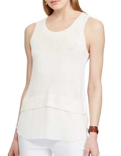 Chaps Layered Sleeveless Sweater-WHITE-Medium