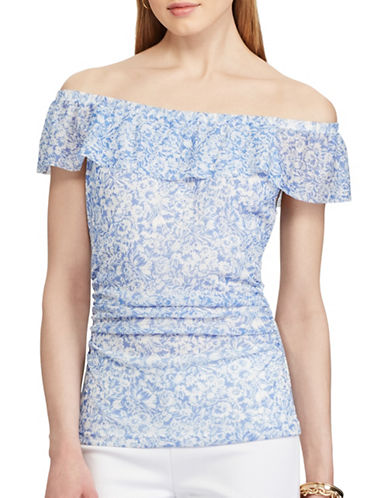 Chaps Luther Floral Off-The-Shoulder Top-MULTI BLUE-Large