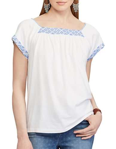Chaps Embroidered Jersey Top-WHITE-Large 89178390_WHITE_Large