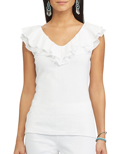 Chaps Stello Ruffled Top-WHITE-X-Large 89178447_WHITE_X-Large