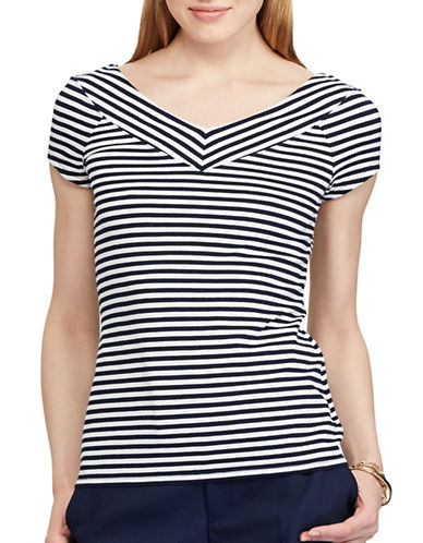 Chaps Striped Stretch Cotton Tee-BLUE-X-Large